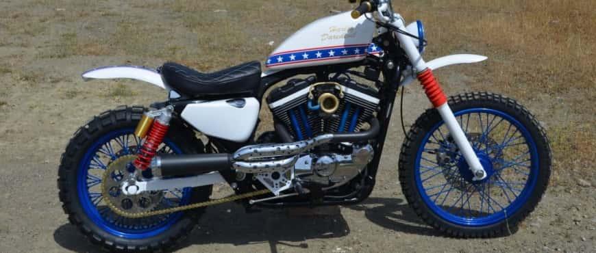 Daredevil, una moto harley scrambler tributo a evel knievel