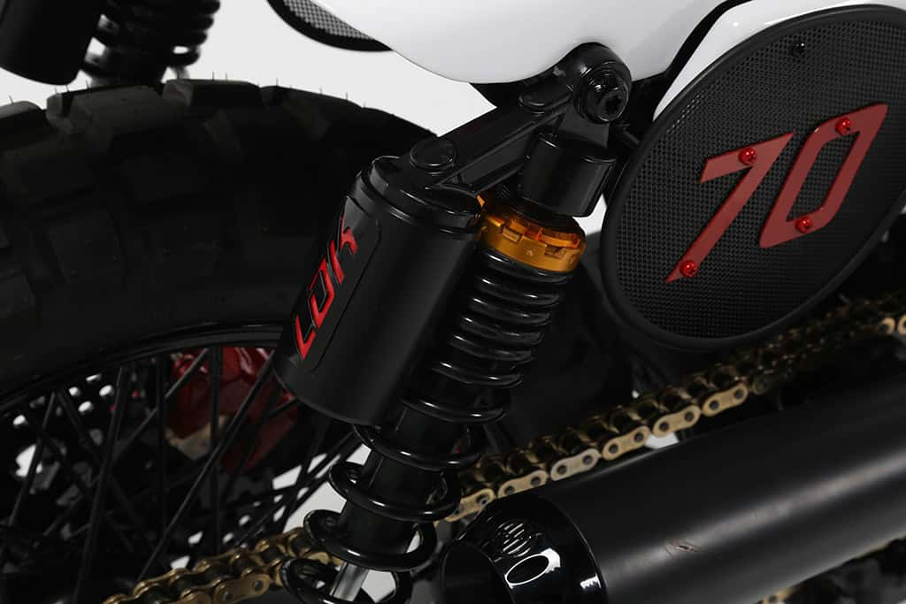 Detail of Seventy, a custom motorcycle created by Lord Drake Kustoms