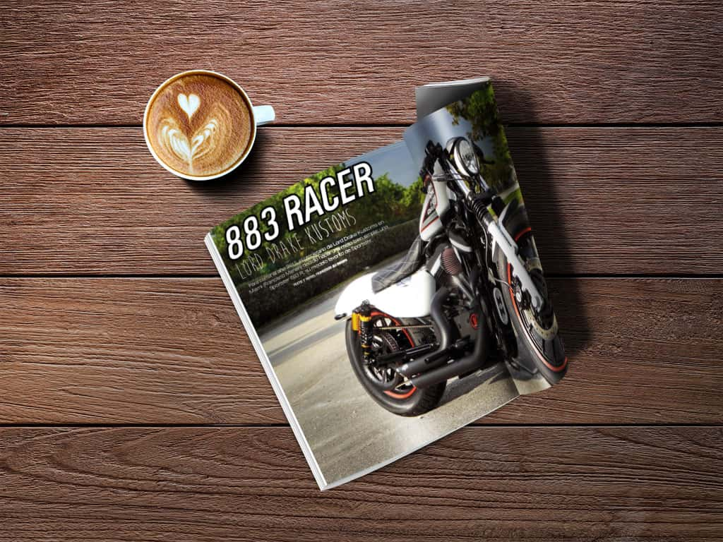 Biker Zone nº 249, pages 20-23. Report on the Sportster 883 Racer by Lord Drake Kustoms