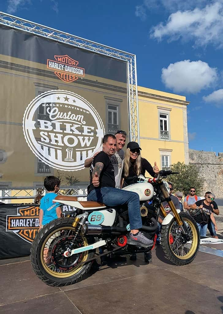 Urbantracker at the podium runner-up at the Custom Bike Show European HOG Rally (Cascais, Portugal)