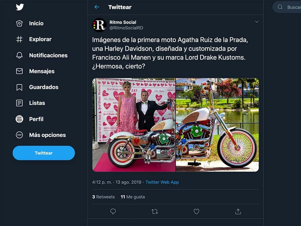 Twitter de Ritmo Social (República Dominicana) sobre la nueva moto de Ágatha Ruiz de la Prada