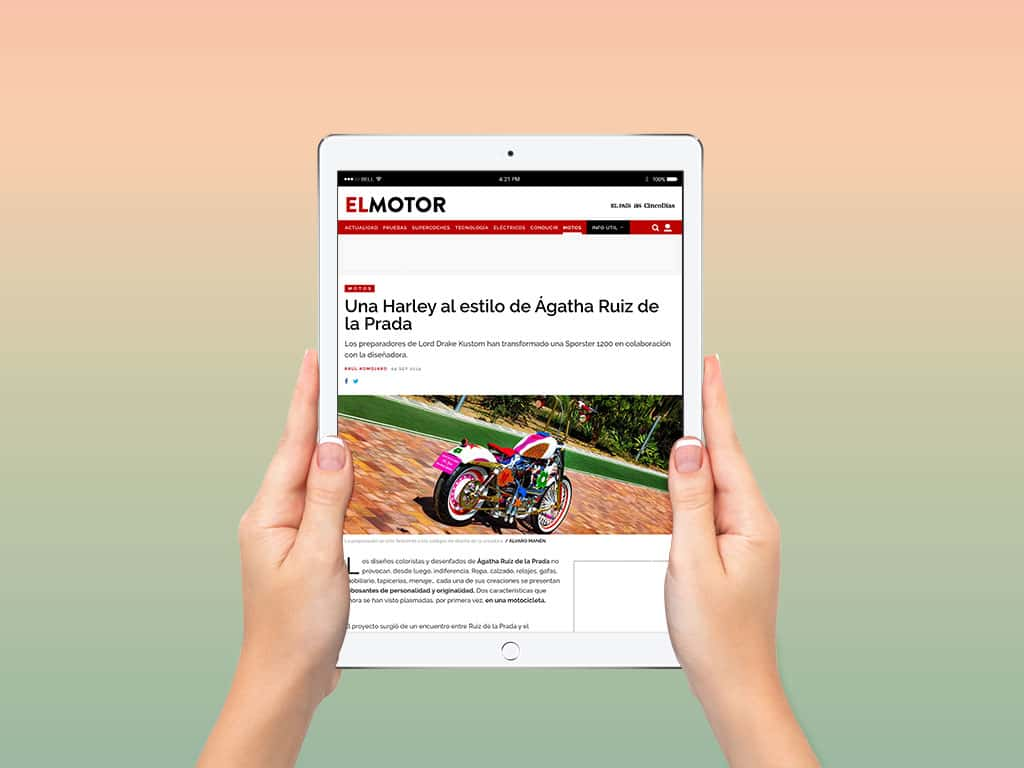 """Elpais.com publishes in its section """"El Motor"""" an article about our recent """"Agathized"""" Harley"""