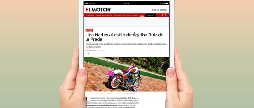 "Elpais.com publishes in its section ""El Motor"" an article about our recent ""Agathized"" Harley"