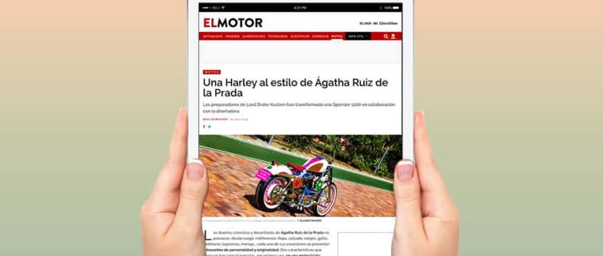 """Elpais.com publica en su sección """"El Motor"""" un artículo sobre nuestra reciente Harley """"Agathizada"""""""
