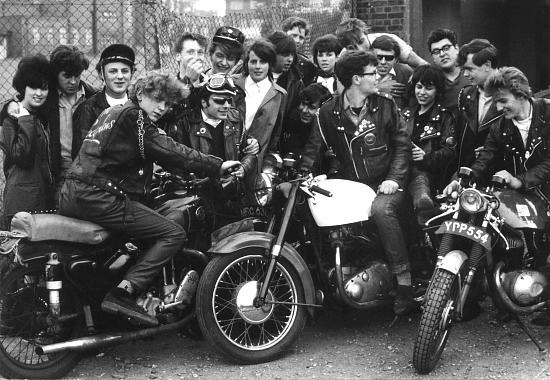 Old picture of Rockers with their cafe racers