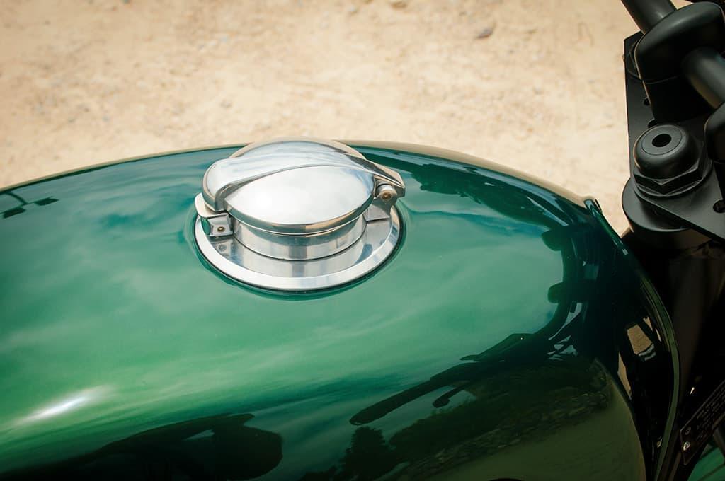 "BMW R100 Scrambler ""Green"" Monza fuel cap detail"
