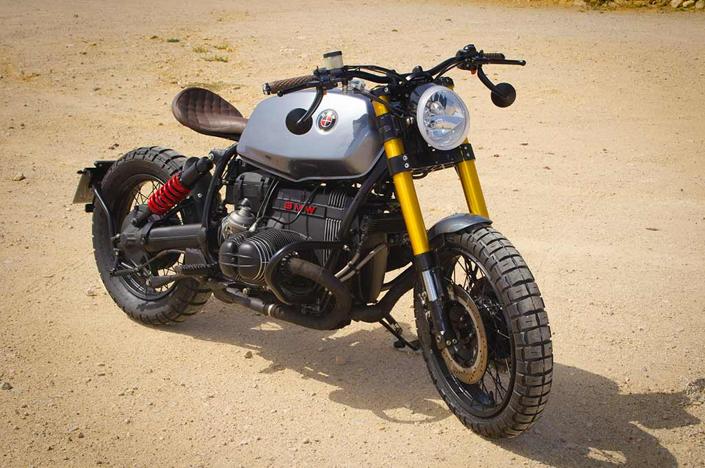 BMW R100R Scrambler by Lord Drake Kustoms in a front left-to-right perspective view