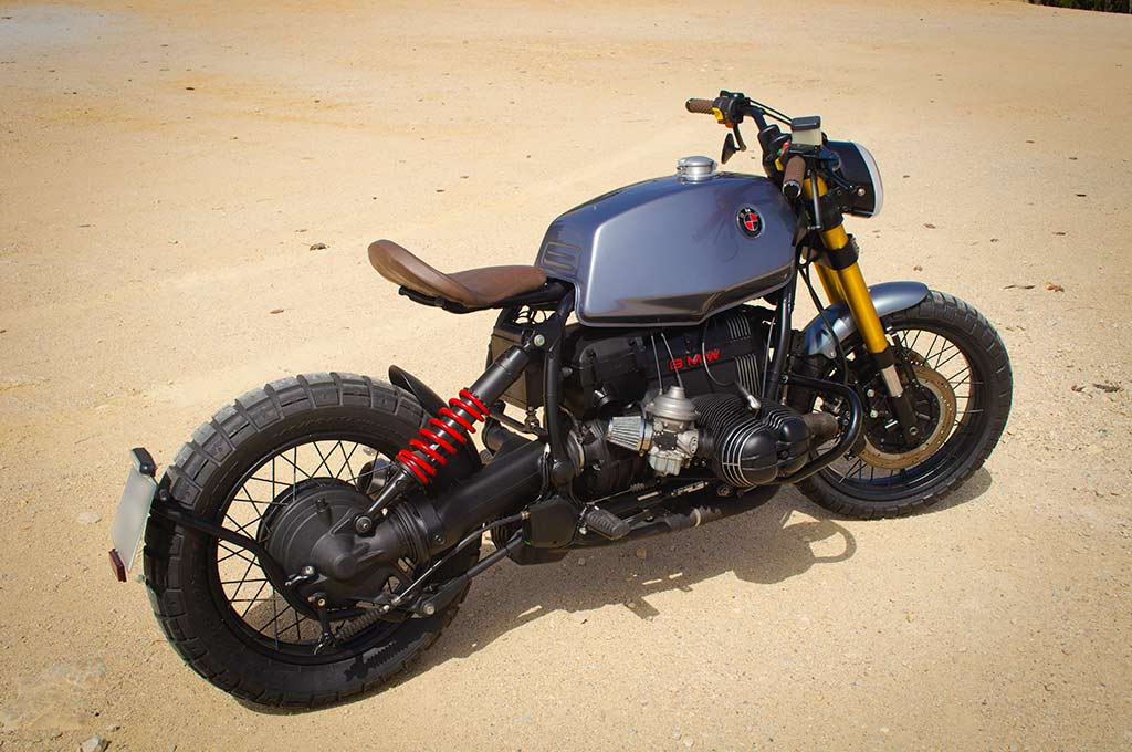 Back left-to-right perspective view of the BMW R100R Scrambler by Lord Drake Kustoms