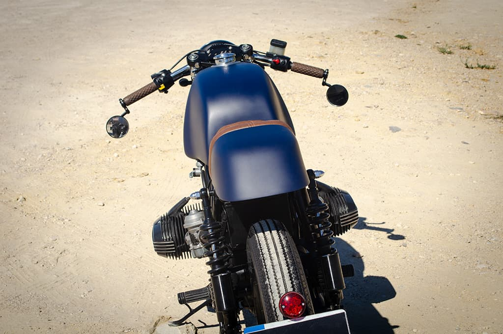 """A back view in perspective of the BMW R65 Cafe Racer """"Blue"""""""