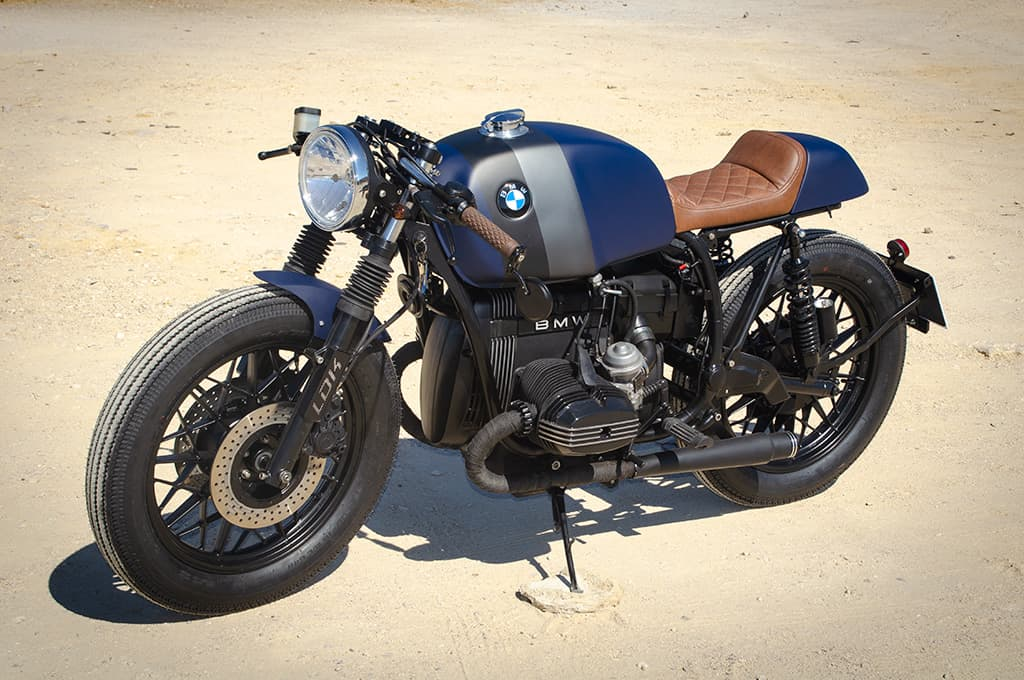 """BMW R65 Cafe Racer """"Blue"""" by Lord Drake Kustoms being showing in a right-to-left little perspective"""
