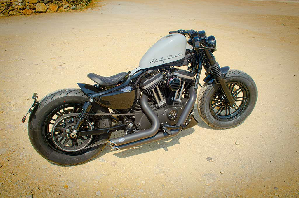 Elevated view of Harley Sportster 48 Bobber