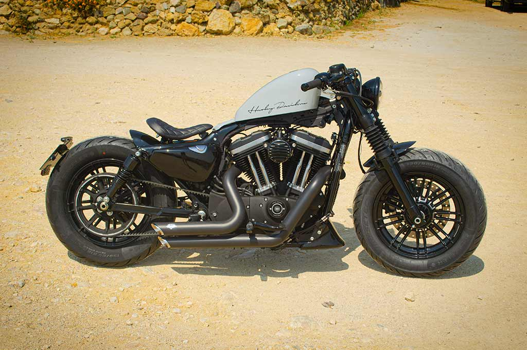 Right-side view of Harley Sportster 48 Bobber