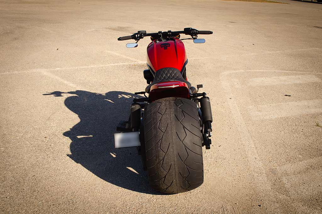Back view of the Harley Vrod 360 with the 360 wheel