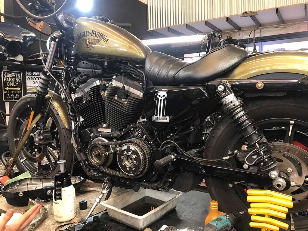 Vintage Harley at Lord Drake Kustoms Workshop