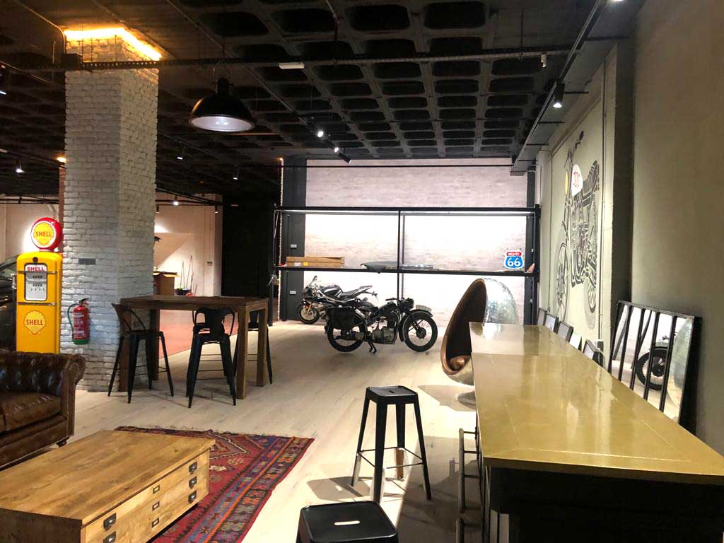 View of the assembly of the facilities of the new Lord Drake Kustoms motorcycle workshop in Madrid