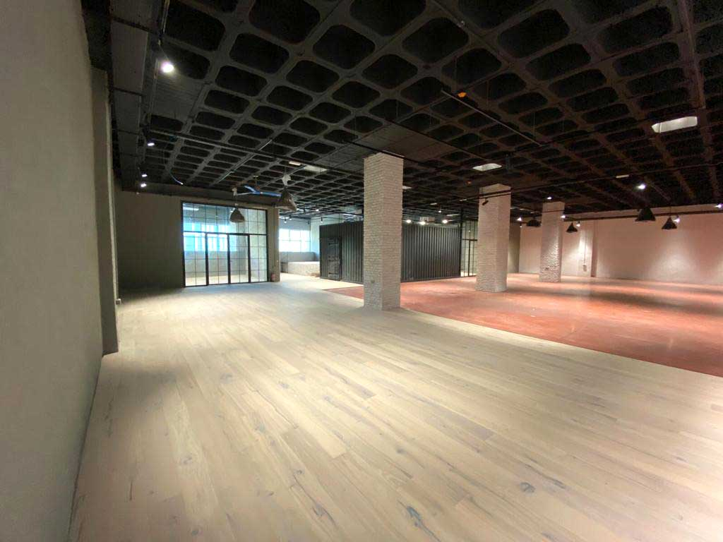 View of part of the surface of the new LDK cafe racer workshop in Madrid