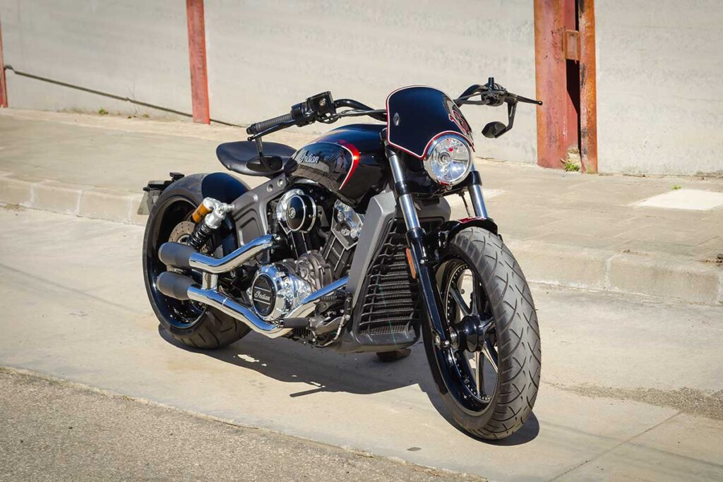 LDK Indian Scout Bobber Right Front Side View