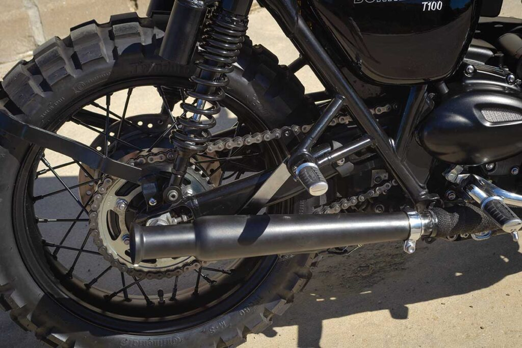 Rear wheel and exhaust detail